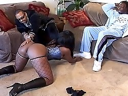 Sexy black hooker double-teamed by a couple of bad ghetto thugs
