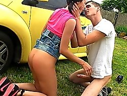 Delightsome teen with firm ass and perky nipples enjoys the pleasure  of anal sex outside in the street