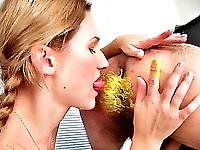 Clips of chick eating mustard off guy's ass